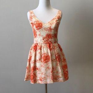 Amour Vert Silk V neck floral mini summer dress